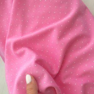 Интерлок пенье розовый в горошек