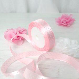 Атласная лента 2 см розовая в горошек