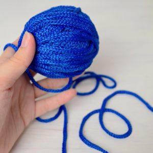 Шнур плетеный полиэфирный круглый синего цвета