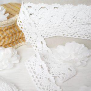 Вязаное кружево хлопок 100% белый цвет