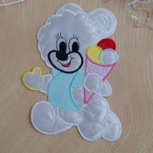 Аппликации детские мишка с мороженным белый 13,5 х 21