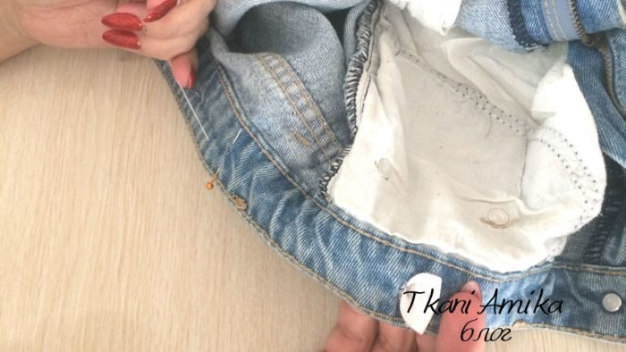 Вдеваем эластичную тесьму в пояс джинс